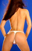 Red White and Blue American Flag Thong Panties - Free Spirited Professional Model - Back Side — Stock Photo