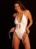Un-tied Strings - White One Piece Swimsuit — Stockfoto