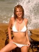 Playboy Model Aubree Lemon - Swimwear Shoot  - Sexy White Thong Bikini — Stock Photo