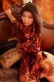 Leopard Satin Robe - Sultry Asian — Stock Photo