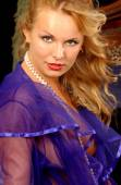 Sheer Purple Robe - Shy Blonde — Stock Photo