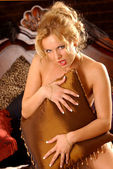 Implied Nude - Pillow Play - Playful Blonde — Stock Photo