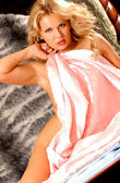 Implied Nude - Stunning Blond - Pink Satin Sheet — Stock Photo