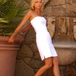 Pretty Blonde in White Dinner Dress — Stock Photo #54699203