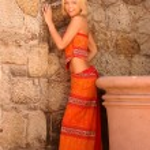 Cute Orange Outfit - Professional Pretty Model — Stock Photo #54699239