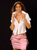 Cleavage - White Shirt - Pink Satin Skirt - Stunning Brazilian Model — Stockfoto