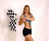 Mety mety wyścigi dziewczyna - mnóstwo miejsca na miejsce - profesjonalny Model Murzynki; P — Zdjęcie stockowe