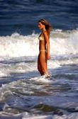Deep Blue Ocean Waves - Model Ebony P - Bikini Shoot — Stock Photo