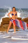 Patriotic Red White and Blue Bikini Shoot - Ocean Waves and Beach Background - Professional Model Ebony P - A Very Fun Shoot — Stock Photo