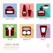 Set of  6 flat Cosmetics icons with colored background and trendy long shadows for beauty product package marking & labelling, web site user interface elements — ストックベクタ #73371659