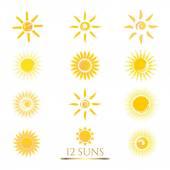 Set of 12 flat Sun icons. — Stock Vector
