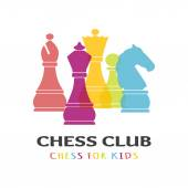 Chess pieces business sign & corporate identity template for Chess club or Chess school. — Stock Vector