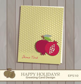 Pomegranate and Honeycomb Greeting card design vector template. — Stock Vector