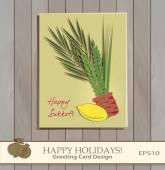 Sukkot Festival greeting card design vector template. — Stock Vector