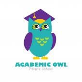 Owl in Graduate Hat educational vector icon template in flat style. — Stock Vector
