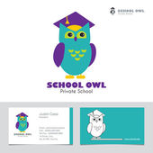Owl in Graduate Hat educational vector icon template in flat style and business card template.. — Stock Vector