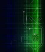Vector illustration  abstract technology green blue background — Vector de stock