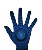 Spyware ögongloben på rippel blå bakgrund i hand. — Stockvektor