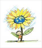 Kid with flower. Save the world concept — Stock Vector