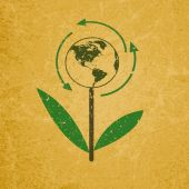 Znak Eco na pusty projekt recyklingu papieru .save koncepcja świata. — Wektor stockowy