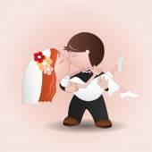 Bröllopet kiss — Stockvektor
