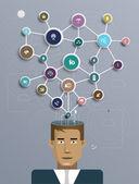 бизнесмен связаться с социальной сети, общение в глобальных компьютерных сетях — Cтоковый вектор