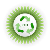 Recycle symbol on white paper with eco text over green leaf background.Save the world concept — Stock Vector