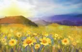 Flor de flor de Margarita. Pintura al óleo de un paisaje al atardecer rural con un campo de margaritas de oro — Foto de Stock