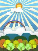 Abstracte papier met zon-cloud en bomen op lichte blauwe achtergrond met ruimte voor ontwerp. Platte ontwerpstijl voor lente kaart — Stockvector