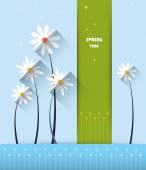 Kağıt çiçekler ile soyut bahar arka plan — Stok Vektör