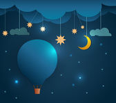 Abstract paper cut-Hot air balloon and moon with stars-cloud and sky at night .Blank space for your design — Stock Vector