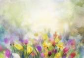 Watercolor flowers painting — Stock Photo