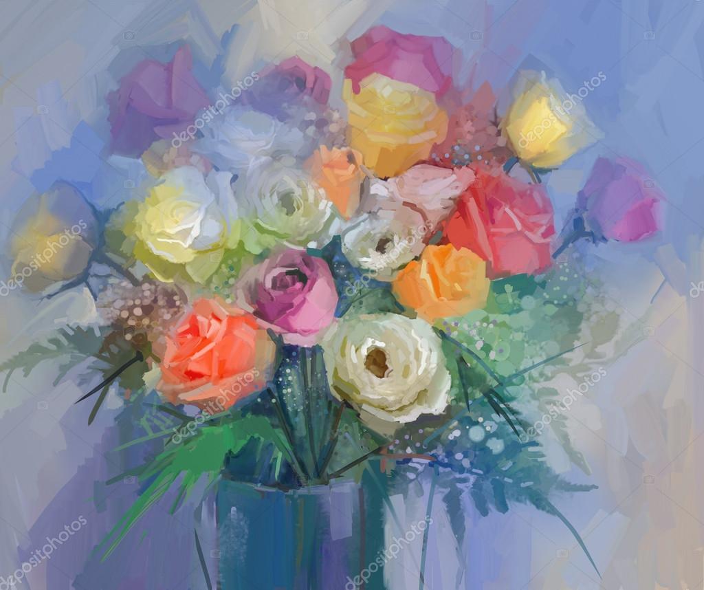 Nature morte un bouquet de fleurs peinture lhuile for Bouquet de fleurs jaunes