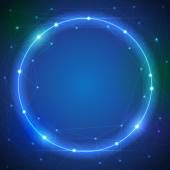 Abstrakt-futuristisch - Moleküle und blaue Farbe Kreis Ray Licht — Stockvektor