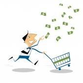 Vector cartoon businessman running with shopping cart, to grab the money in the air. — Stock Vector