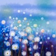 Abstract oil painting white flowers field in soft color. Oil paintings white dandelion flower in the meadows — Stock Photo #80678922