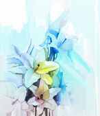 Still life of white color flowers with soft pink and blue background. Oil Painting Soft colorful Bouquet of lily flower — Foto de Stock