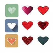 Vector illustration icon set of red hearts shape for Valentine's Day. — Stock Vector
