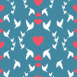 Wedding seamless pattern doves and hearts — Stock Vector #53523585