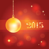Guldbollen jul på abstrakt röd bakgrund — Stockvektor