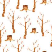 Autumn trees seamless pattern — Stock Vector