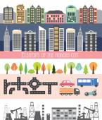Different city elements for creating your own map. — Stock Vector