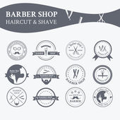 Perfect set of barber and haircut logos — Stock Vector