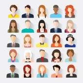 Big set of avatars profile pictures flat icons — Stock Vector