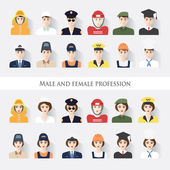 Male and female profession — Stock Vector