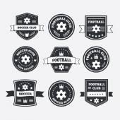 Set of football or soccer emblems, labels and badges — Stockvector