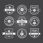 Set of football or soccer emblems, labels and badges — Stock Vector
