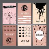 Set of Trendy Posters with hand drawn Background — Stockvector