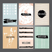 Set of Trendy Posters with hand drawn Background — Stock vektor