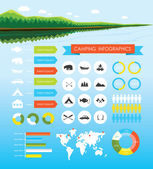 Camping outdoors hiking infographics — Stock Vector